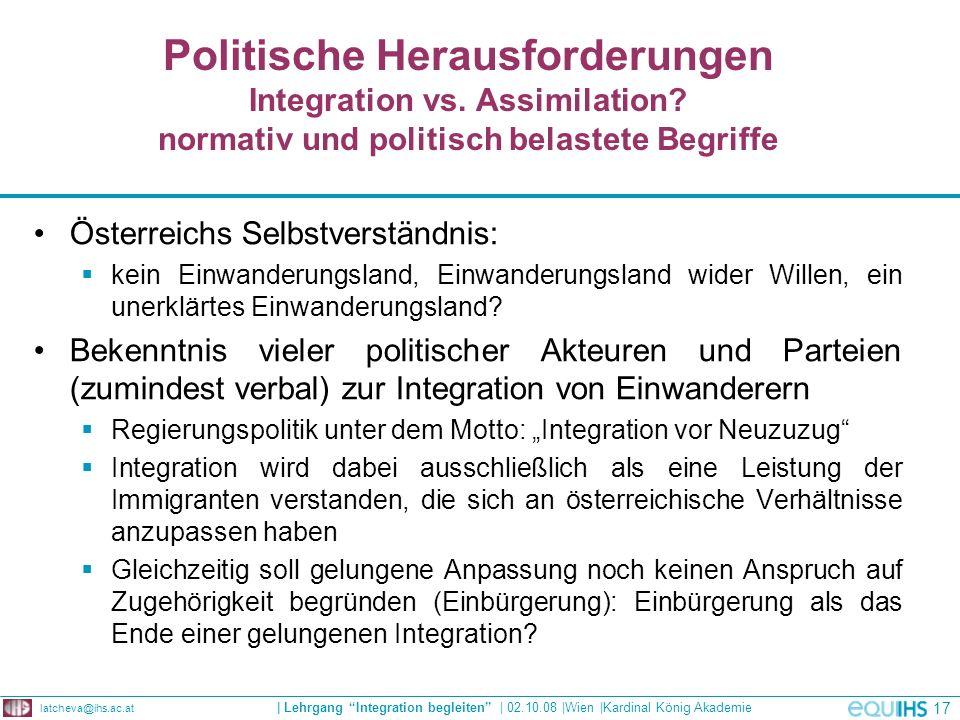 Politische Herausforderungen Integration vs. Assimilation