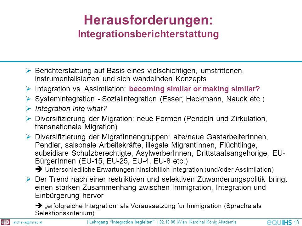 Herausforderungen: Integrationsberichterstattung
