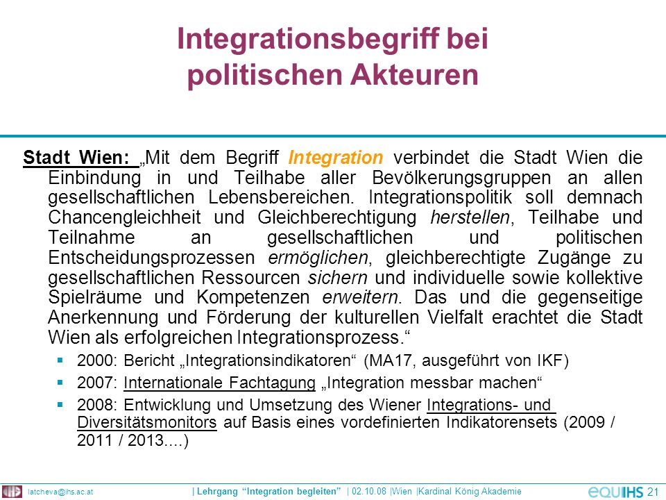 Integrationsbegriff bei politischen Akteuren