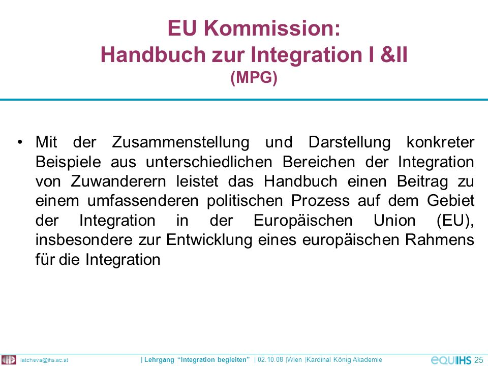 EU Kommission: Handbuch zur Integration I &II (MPG)