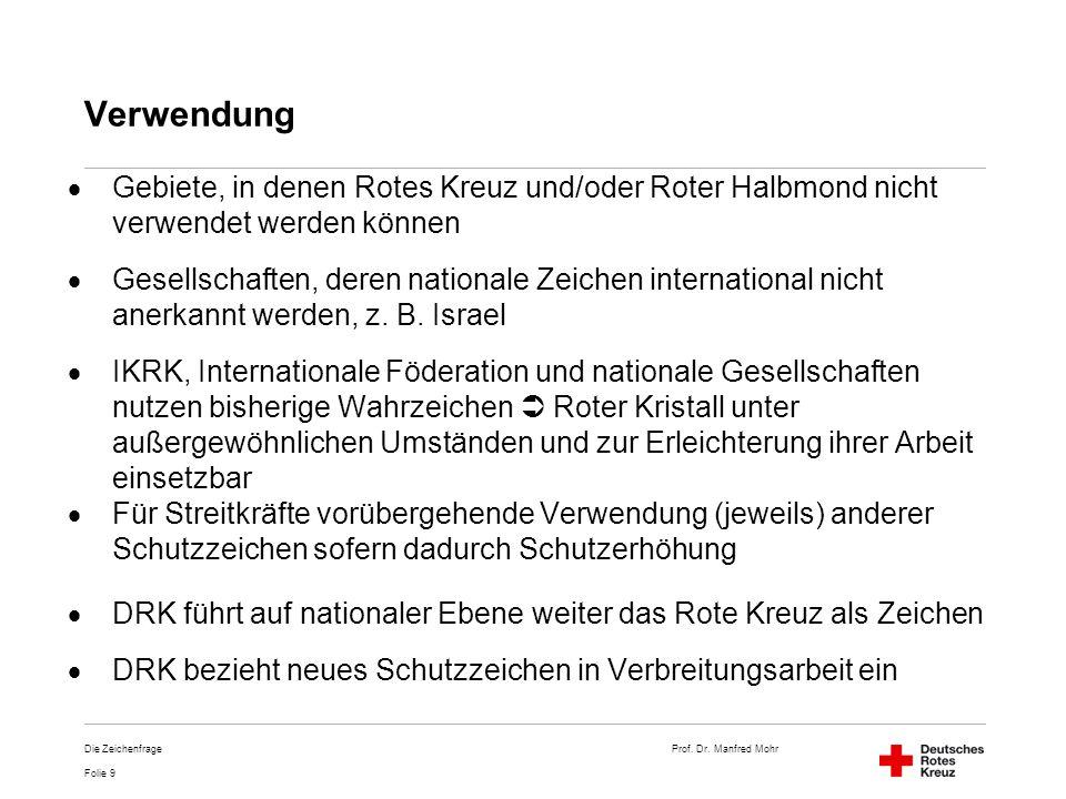 Verwendung Gebiete, in denen Rotes Kreuz und/oder Roter Halbmond nicht verwendet werden können.