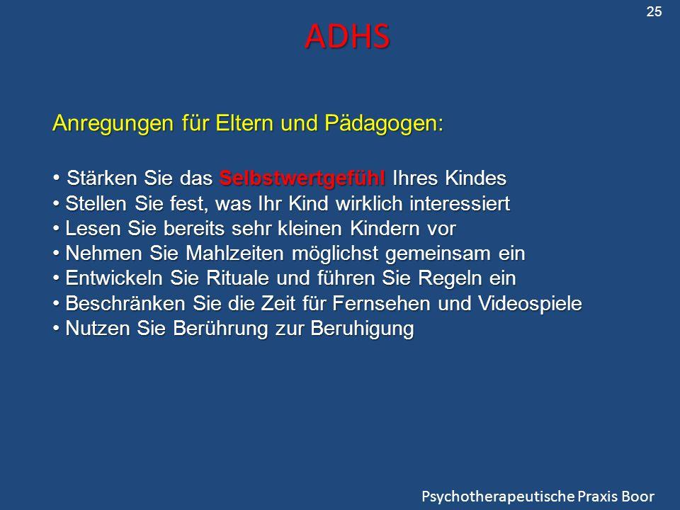 ADHS Anregungen für Eltern und Pädagogen:
