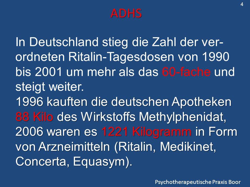 4 ADHS. In Deutschland stieg die Zahl der ver-ordneten Ritalin-Tagesdosen von 1990 bis 2001 um mehr als das 60-fache und steigt weiter.