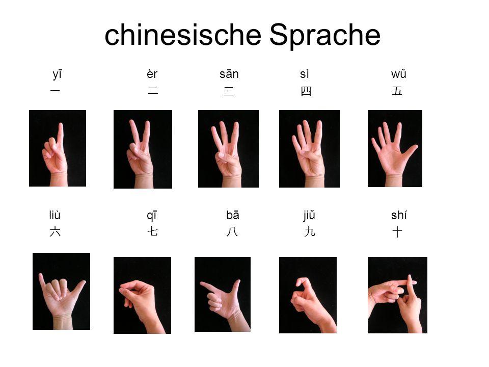 chinesische Sprache yī èr sān sì wǔ 一 二 三 四 五 liù qī bā jiǔ shí