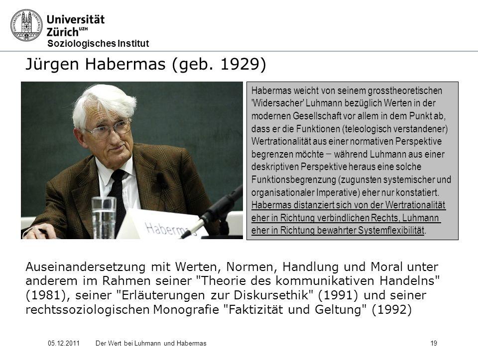 Jürgen Habermas (geb. 1929) Auseinandersetzung mit Werten, Normen, Handlung und Moral unter.