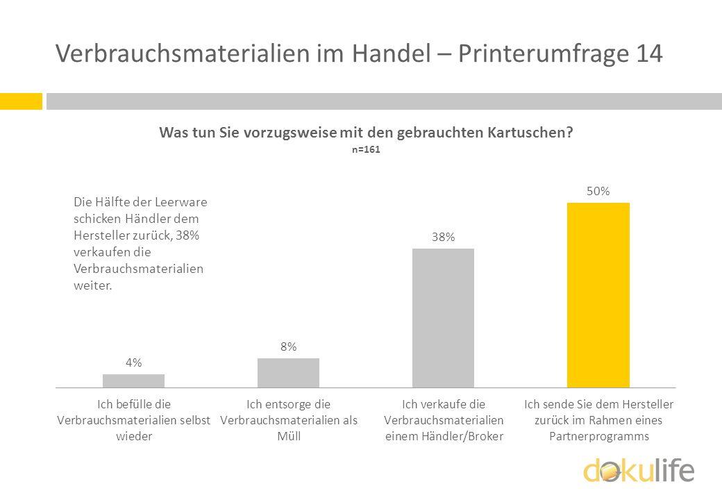 Verbrauchsmaterialien im Handel – Printerumfrage 14