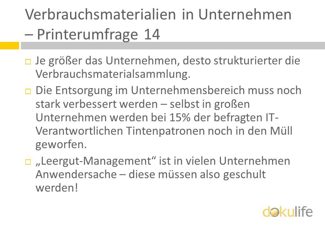 Verbrauchsmaterialien in Unternehmen – Printerumfrage 14