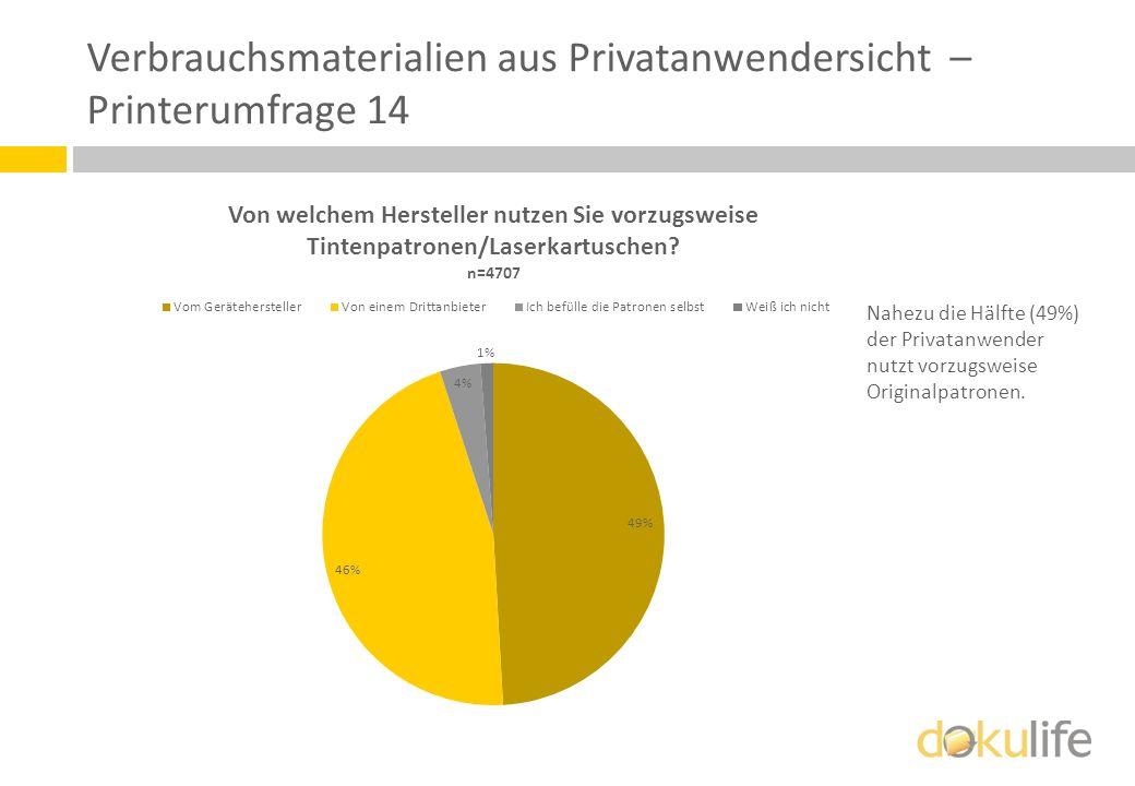 Verbrauchsmaterialien aus Privatanwendersicht – Printerumfrage 14