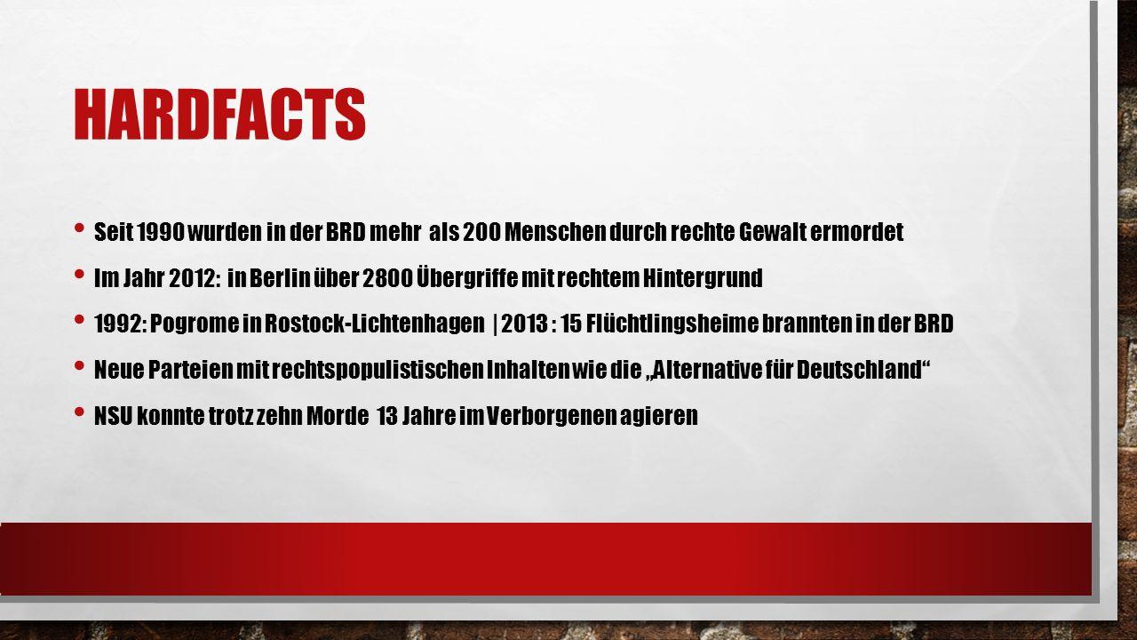 Hardfacts Seit 1990 wurden in der BRD mehr als 200 Menschen durch rechte Gewalt ermordet.