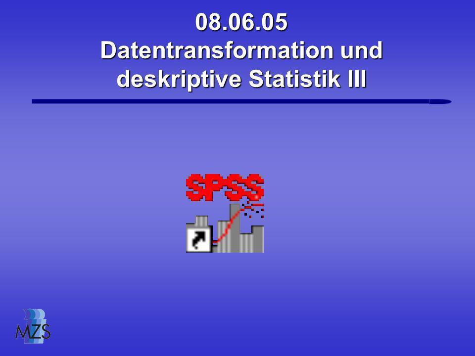 Datentransformation und deskriptive Statistik III