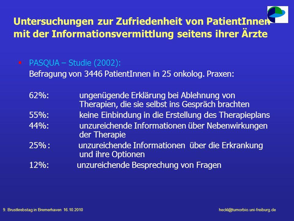 Untersuchungen zur Zufriedenheit von PatientInnen mit der Informationsvermittlung seitens ihrer Ärzte
