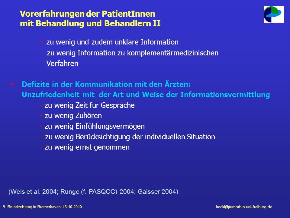Vorerfahrungen der PatientInnen mit Behandlung und Behandlern II