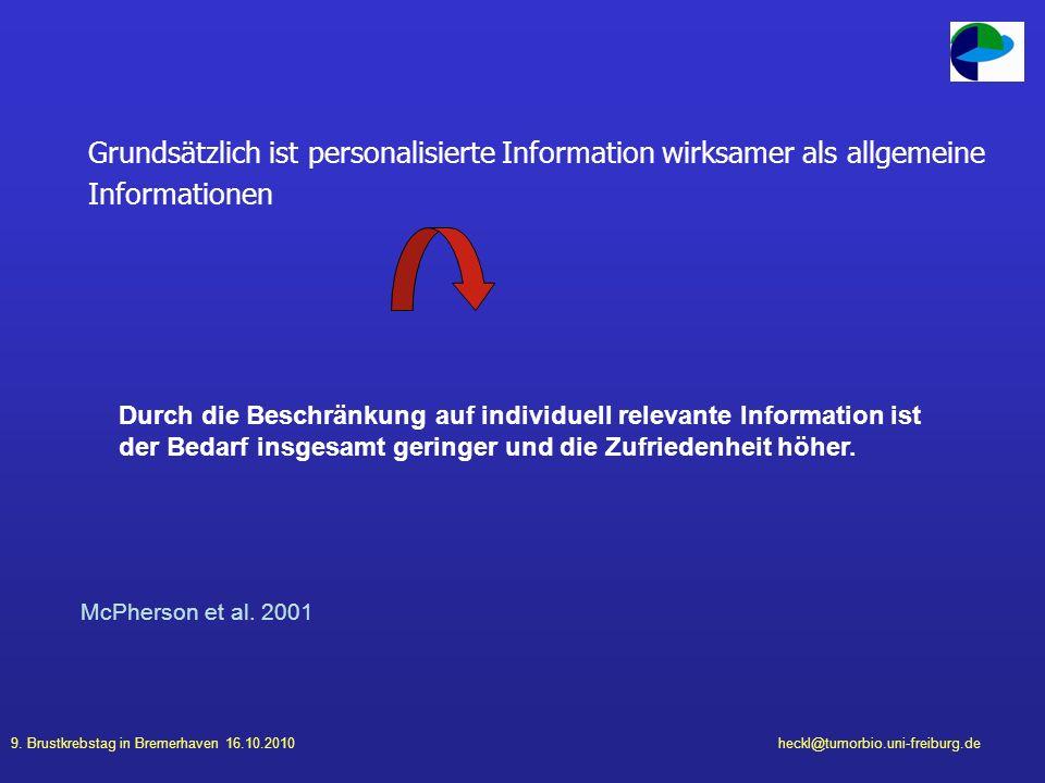 Grundsätzlich ist personalisierte Information wirksamer als allgemeine