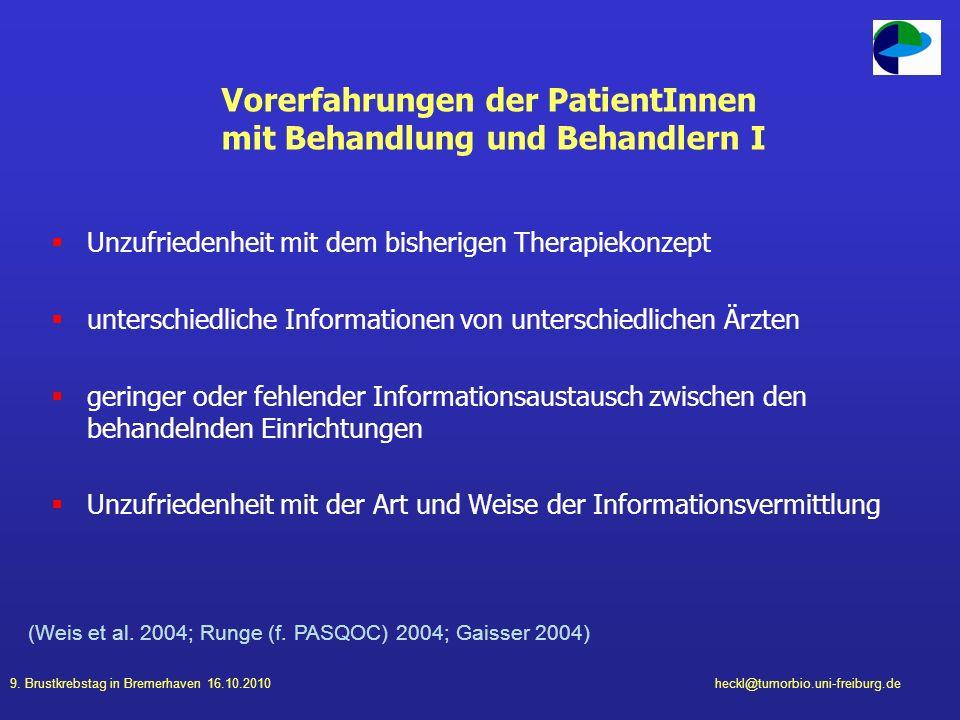 Vorerfahrungen der PatientInnen mit Behandlung und Behandlern I
