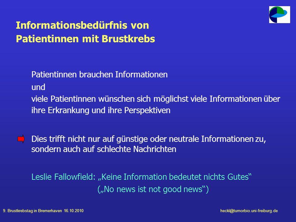 Informationsbedürfnis von Patientinnen mit Brustkrebs