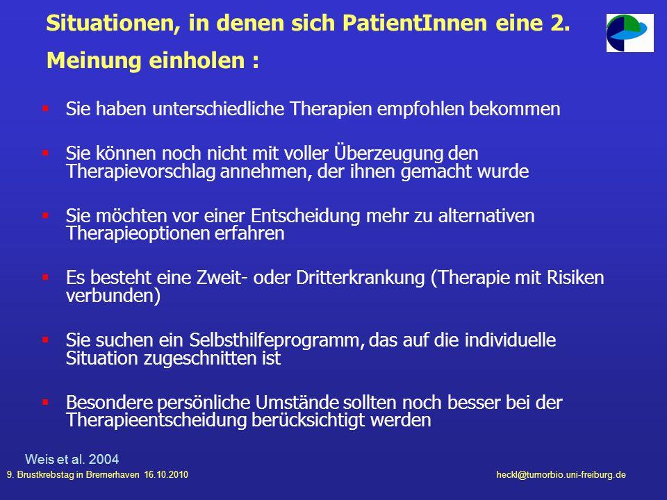 Situationen, in denen sich PatientInnen eine 2. Meinung einholen :