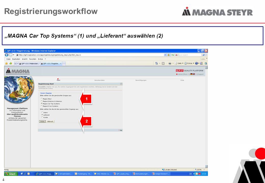Registrierungsworkflow