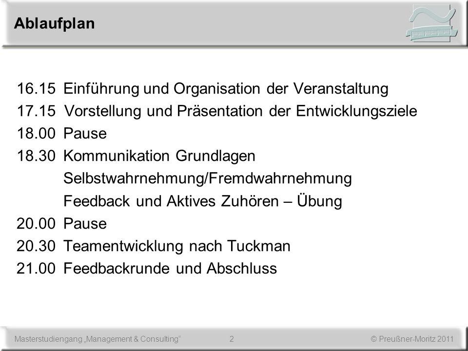 Ablaufplan 16.15 Einführung und Organisation der Veranstaltung. 17.15 Vorstellung und Präsentation der Entwicklungsziele.