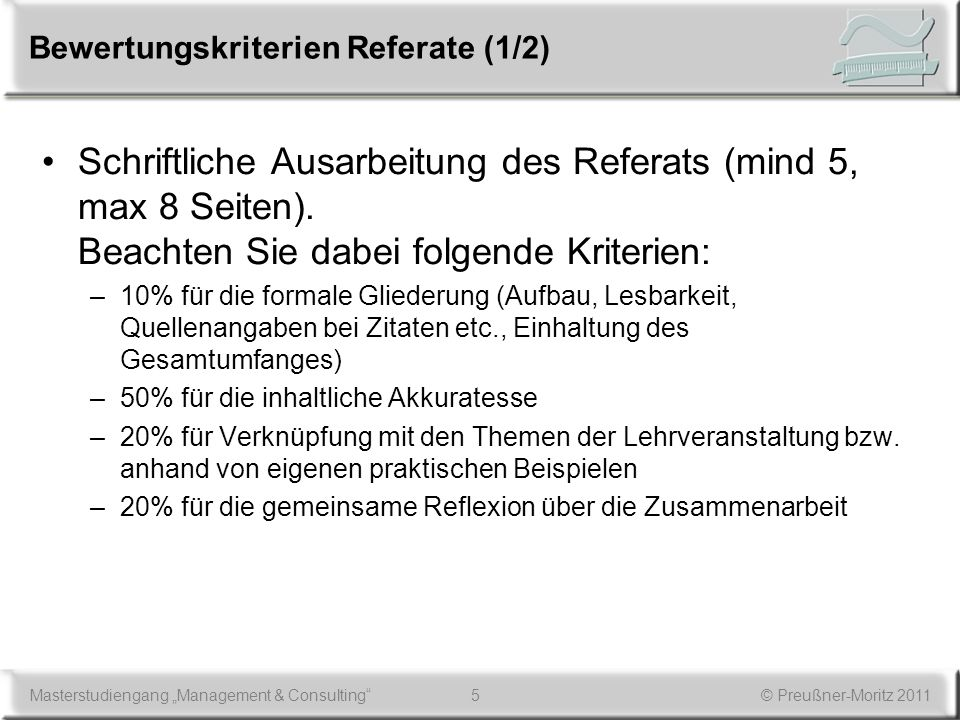 Bewertungskriterien Referate (1/2)
