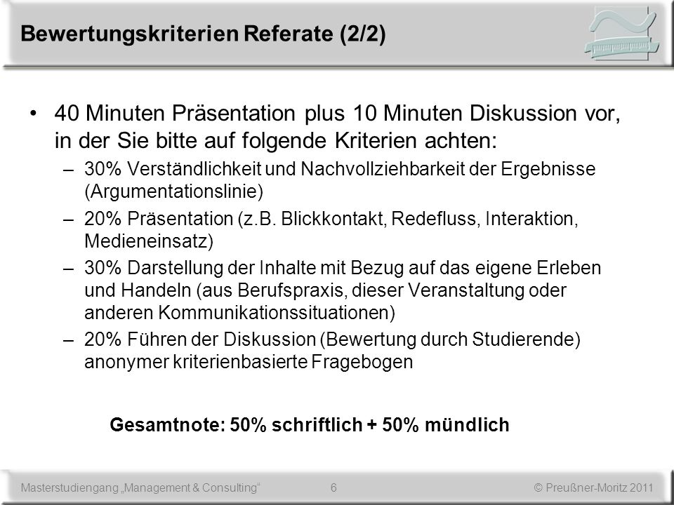 Bewertungskriterien Referate (2/2)