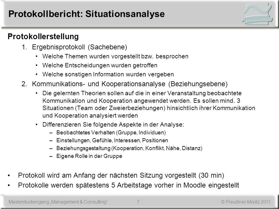 Protokollbericht: Situationsanalyse