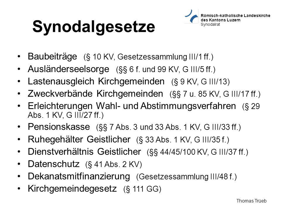 Synodalgesetze Baubeiträge (§ 10 KV, Gesetzessammlung III/1 ff.)