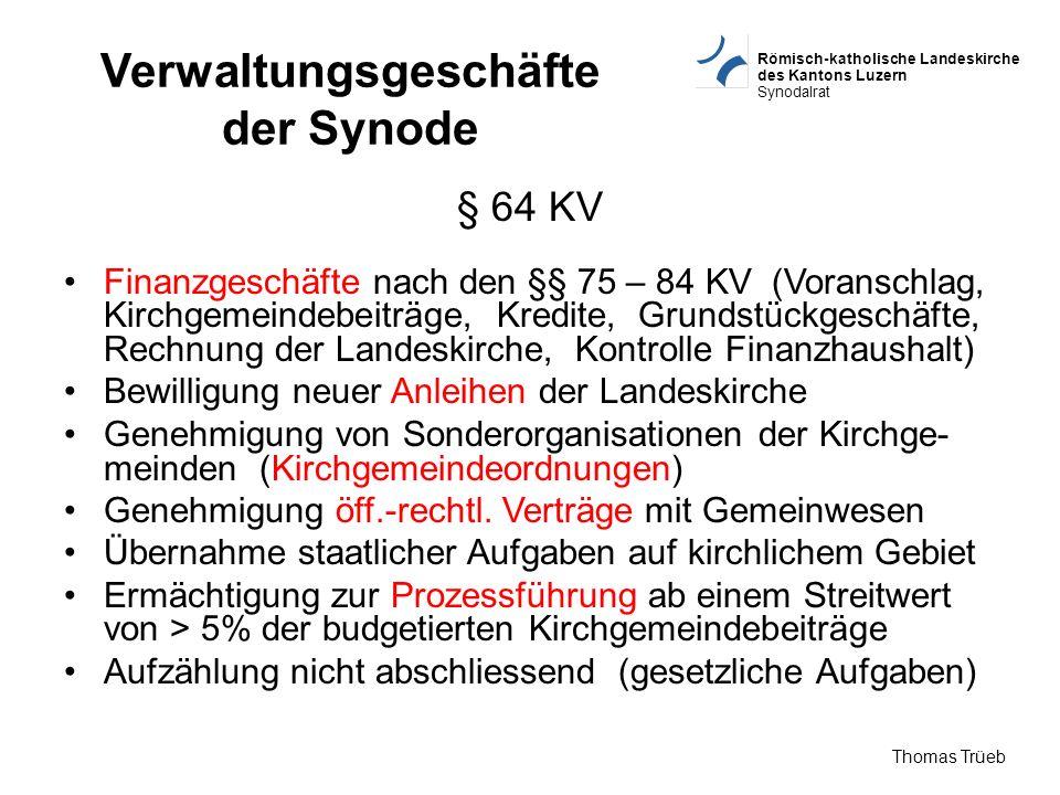 Verwaltungsgeschäfte der Synode