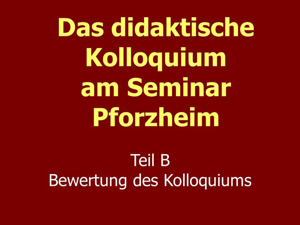 Das didaktische Kolloquium am Seminar Pforzheim