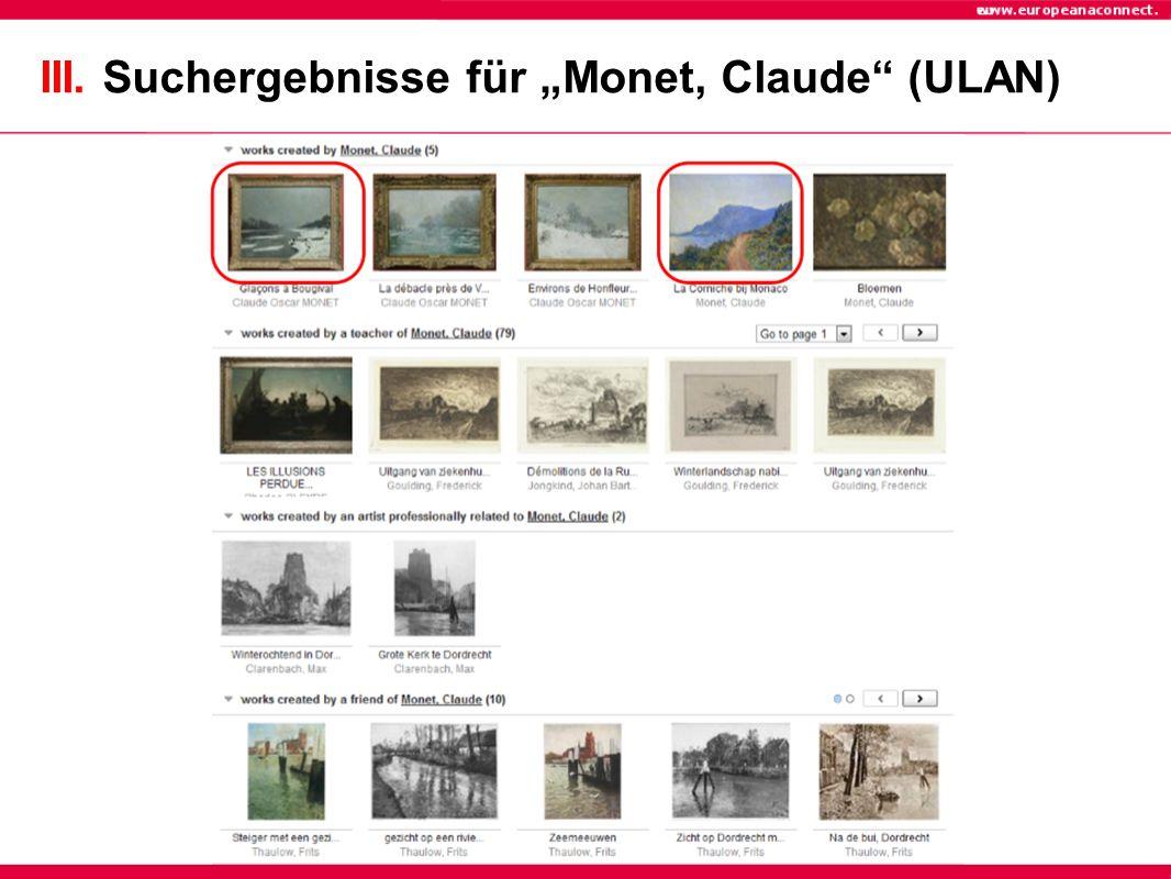 """III. Suchergebnisse für """"Monet, Claude (ULAN)"""