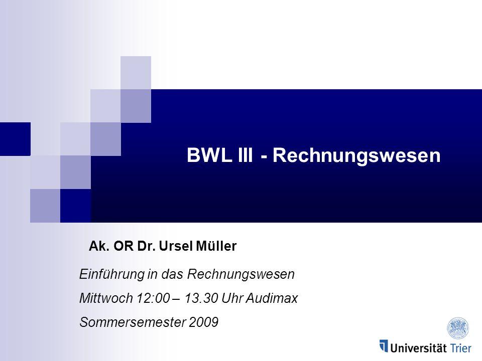 BWL III - Rechnungswesen