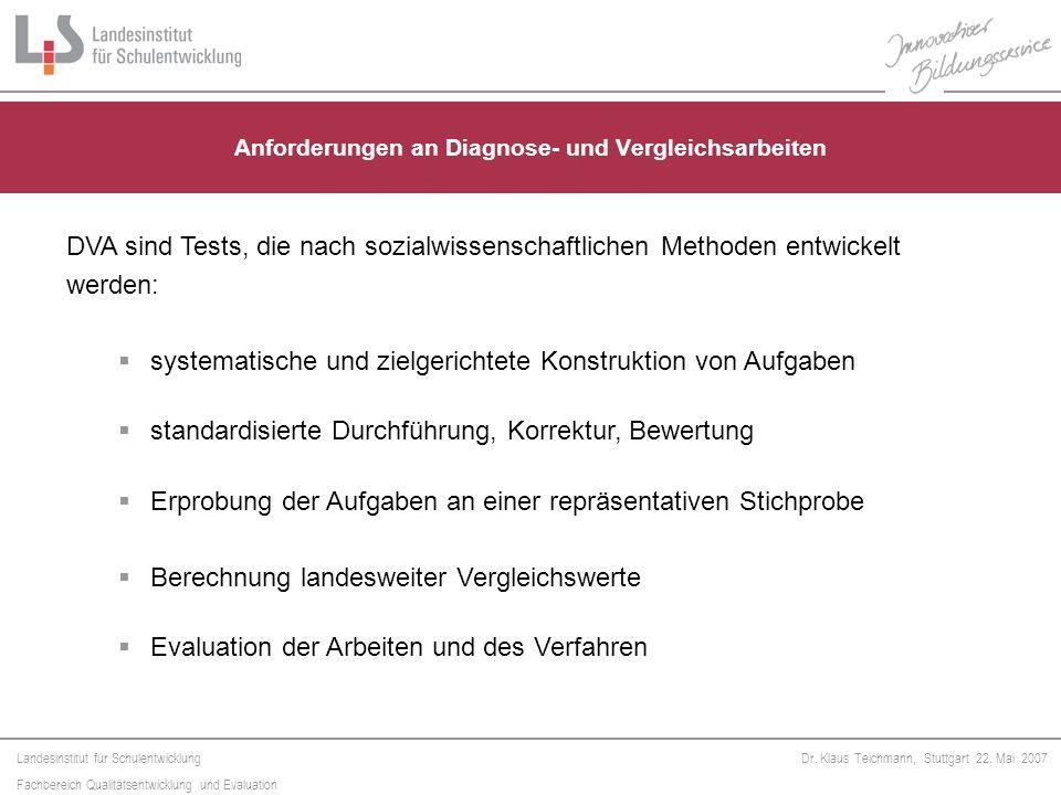 Anforderungen an Diagnose- und Vergleichsarbeiten