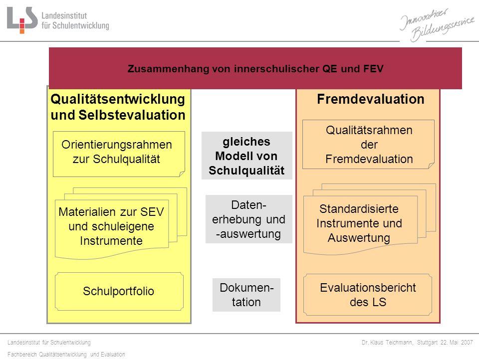 Zusammenhang von innerschulischer QE und FEV