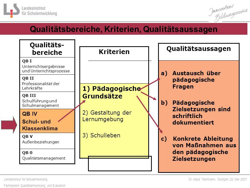 Qualitätsbereiche, Kriterien, Qualitätsaussagen