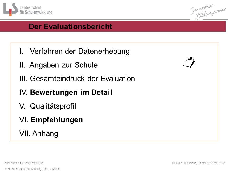 ¤ I. Verfahren der Datenerhebung II. Angaben zur Schule