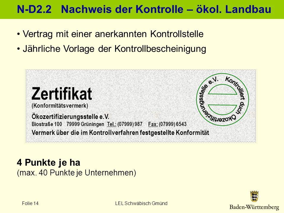N-D2.2 Nachweis der Kontrolle – ökol. Landbau