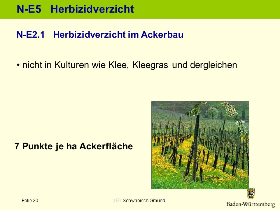 N-E5 Herbizidverzicht N-E2.1 Herbizidverzicht im Ackerbau