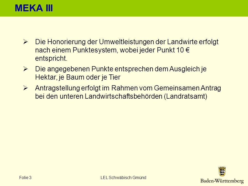 MEKA III Die Honorierung der Umweltleistungen der Landwirte erfolgt nach einem Punktesystem, wobei jeder Punkt 10 € entspricht.