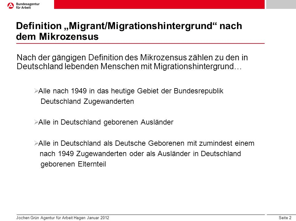 "Definition ""Migrant/Migrationshintergrund nach dem Mikrozensus"