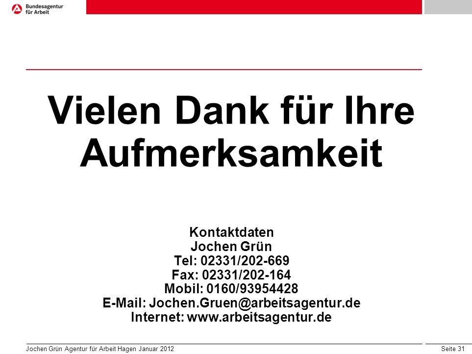 Vielen Dank für Ihre Aufmerksamkeit Kontaktdaten Jochen Grün Tel: 02331/202-669 Fax: 02331/202-164 Mobil: 0160/93954428 E-Mail: Jochen.Gruen@arbeitsagentur.de Internet: www.arbeitsagentur.de