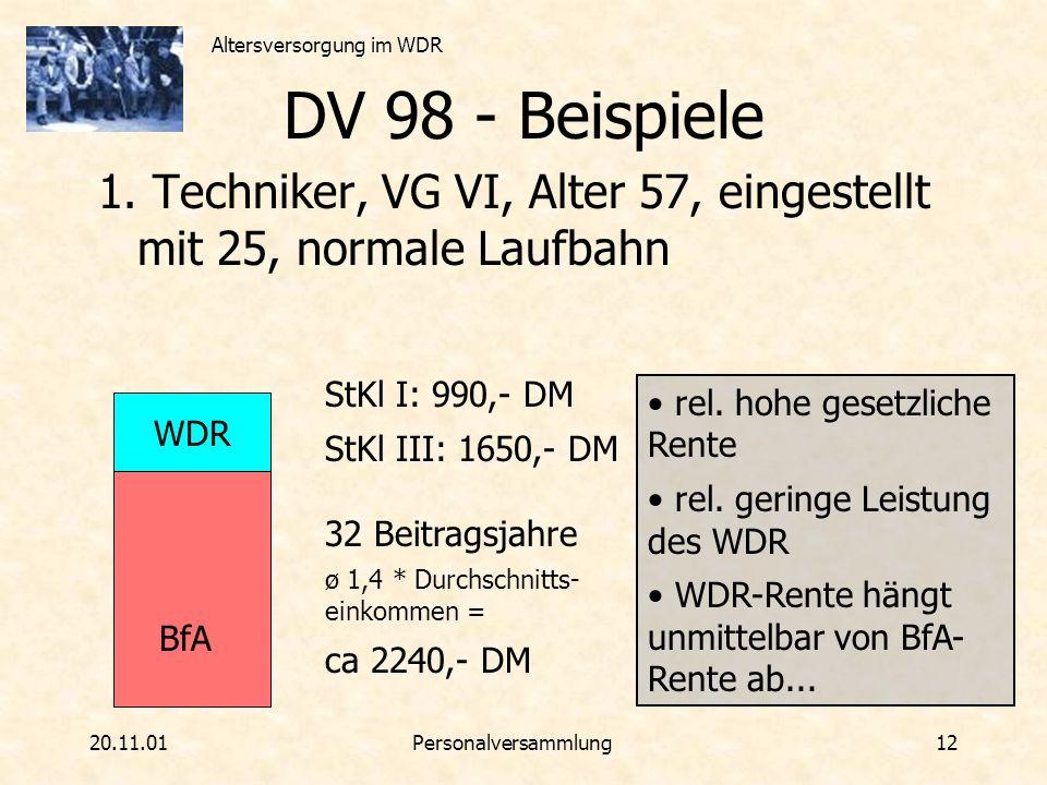 DV 98 - Beispiele 1. Techniker, VG VI, Alter 57, eingestellt mit 25, normale Laufbahn. StKl I: 990,- DM.