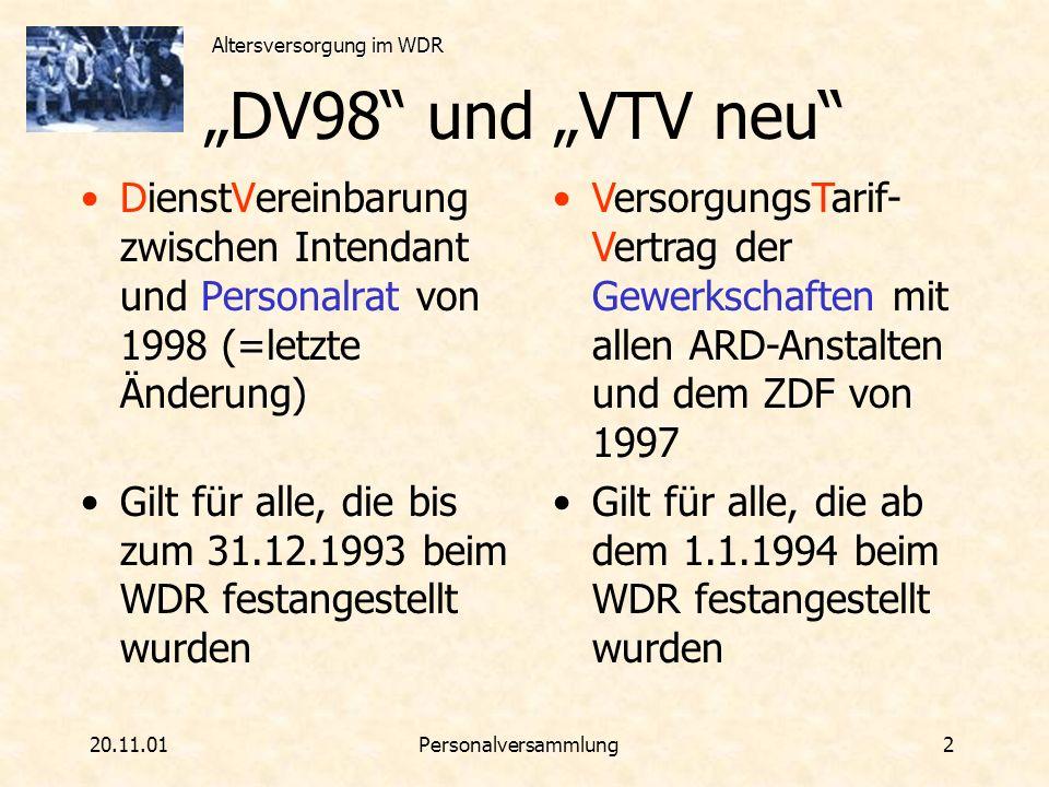 """""""DV98 und """"VTV neu DienstVereinbarung zwischen Intendant und Personalrat von 1998 (=letzte Änderung)"""