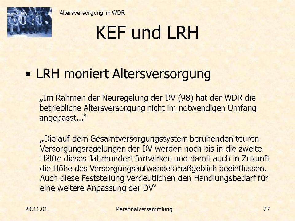 KEF und LRH LRH moniert Altersversorgung