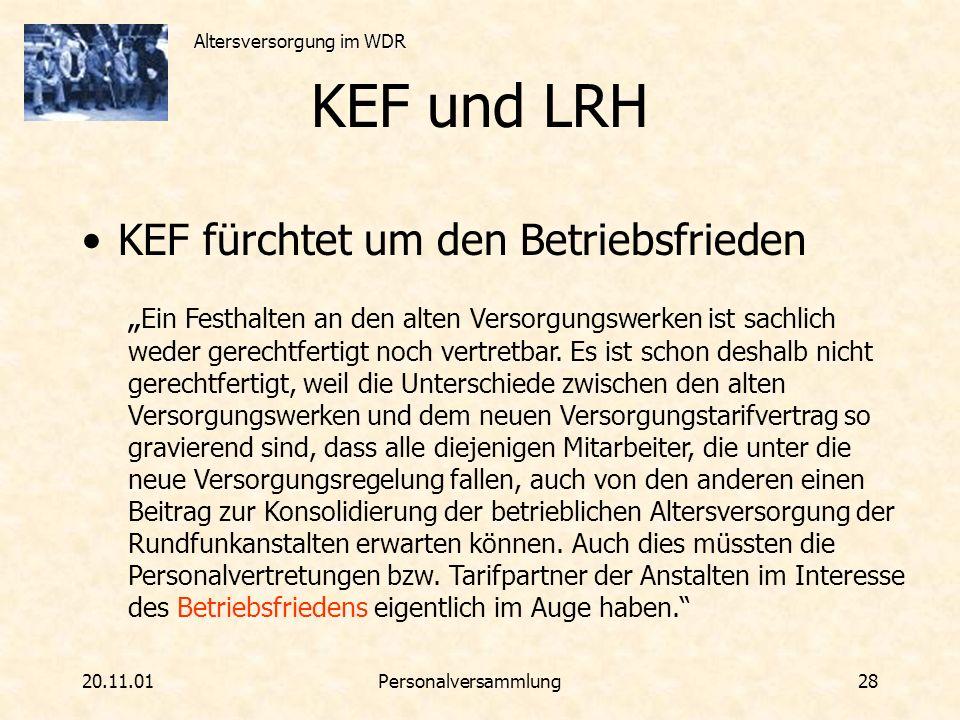 KEF und LRH KEF fürchtet um den Betriebsfrieden