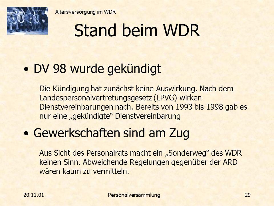 Stand beim WDR DV 98 wurde gekündigt Gewerkschaften sind am Zug