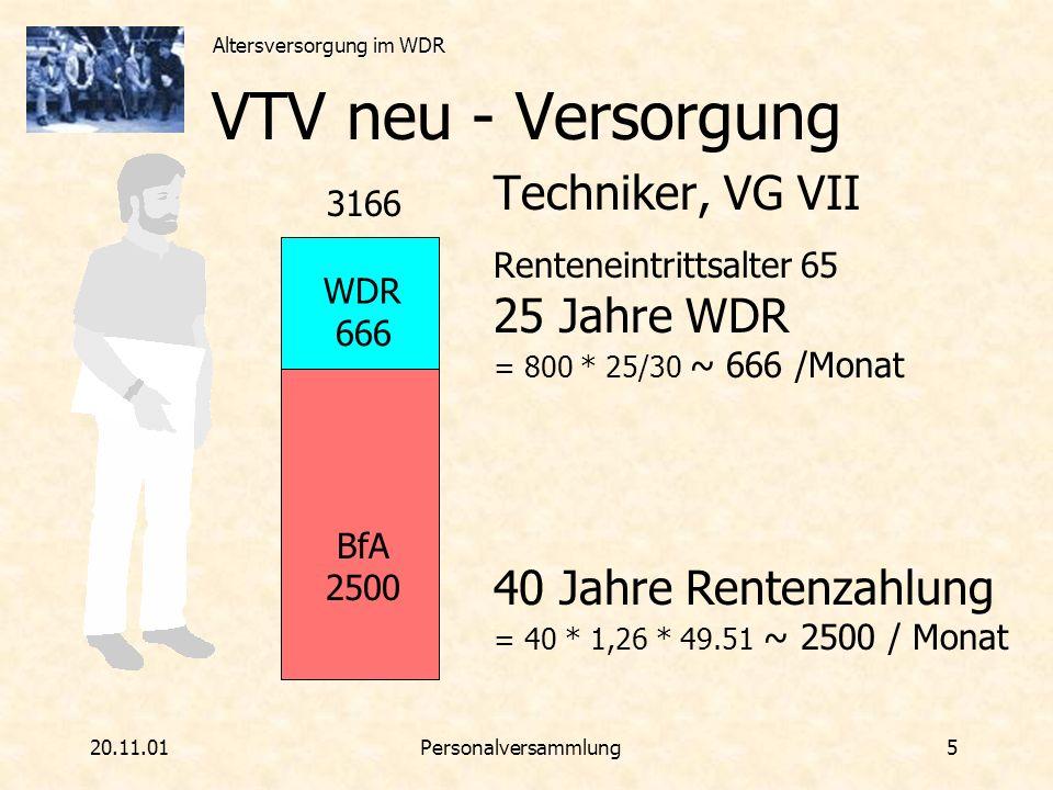 VTV neu - Versorgung Techniker, VG VII 25 Jahre WDR