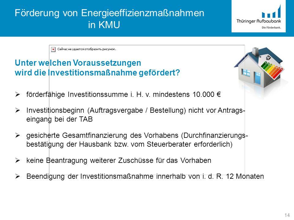 Förderung von Energieeffizienzmaßnahmen in KMU