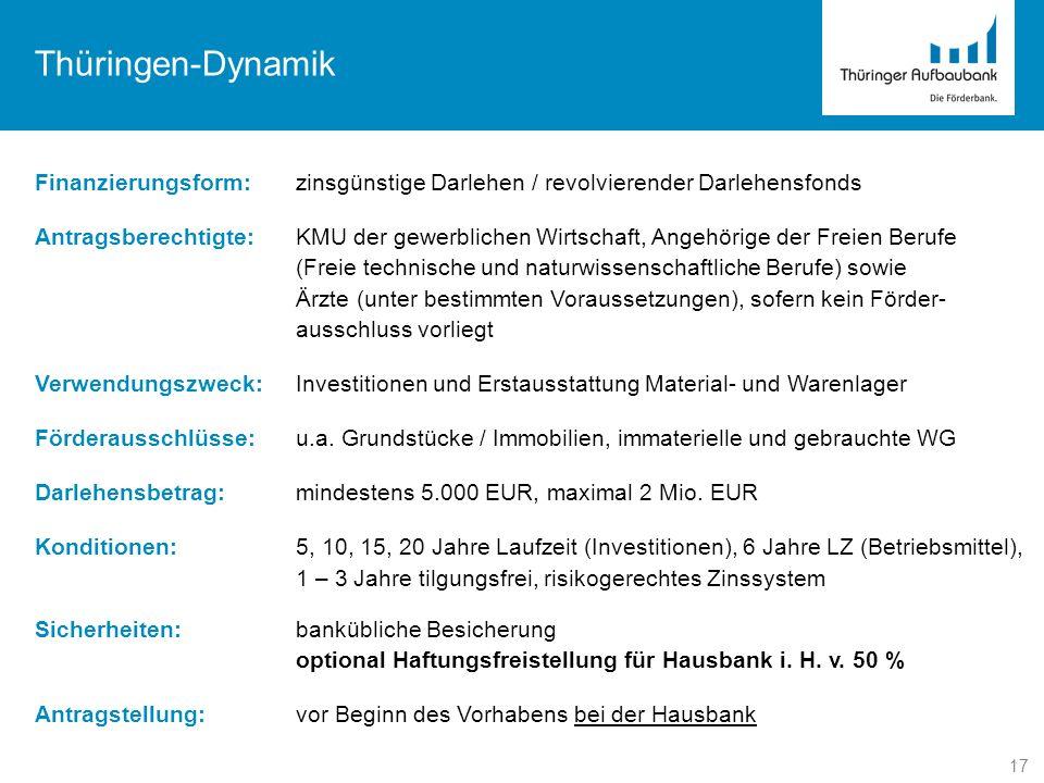Thüringen-Dynamik Finanzierungsform: zinsgünstige Darlehen / revolvierender Darlehensfonds.