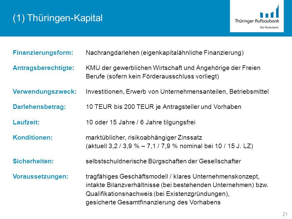 (1) Thüringen-Kapital Finanzierungsform: Nachrangdarlehen (eigenkapitalähnliche Finanzierung)