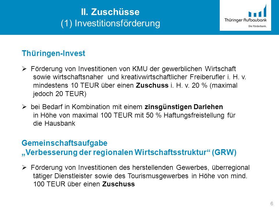 (1) Investitionsförderung