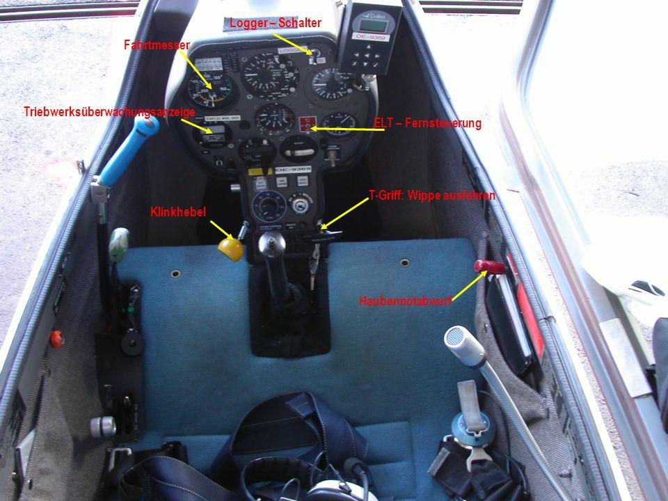 Logger – Schalter Fahrtmesser. Triebwerksüberwachungsanzeige. ELT – Fernsteuerung. T-Griff: Wippe ausfahren.